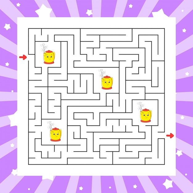 Labyrinthe Carré. Jeu Pour Les Enfants. Puzzle Pour Enfants. Vecteur Premium