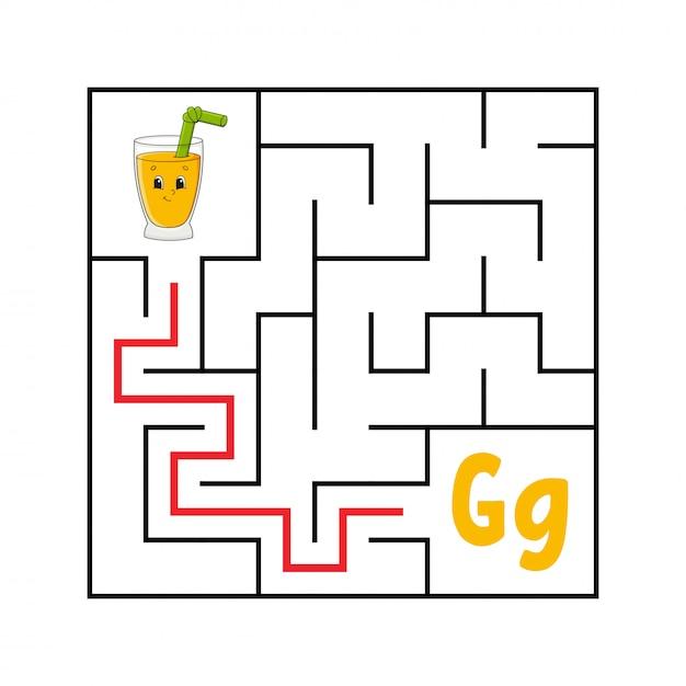Labyrinthe carré. Vecteur Premium