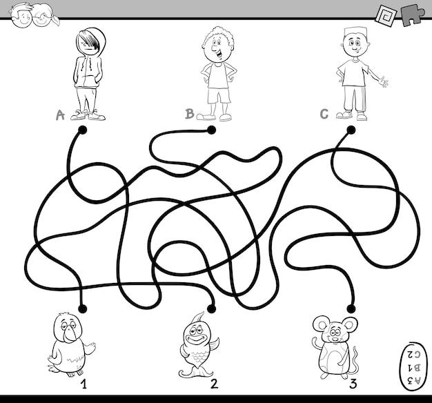 Labyrinthe de chemin de coloriage Vecteur Premium