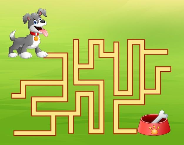 Labyrinthe de chien de jeu trouve le chemin vers le conteneur de nourriture pour chien Vecteur Premium