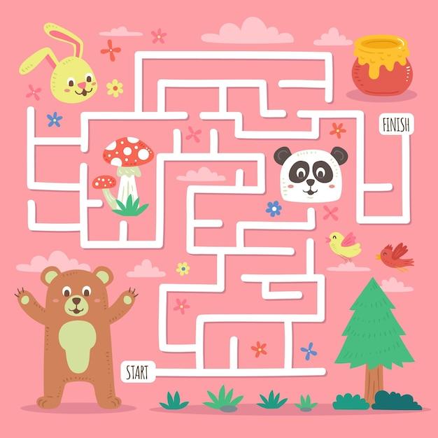 Labyrinthe éducatif Pour Enfants Avec Des Animaux Sauvages Vecteur gratuit