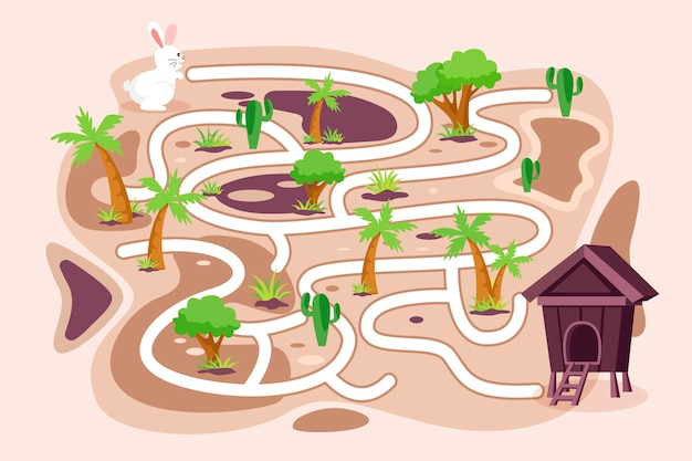 Labyrinthe éducatif Pour Enfants Avec Lapin Vecteur gratuit