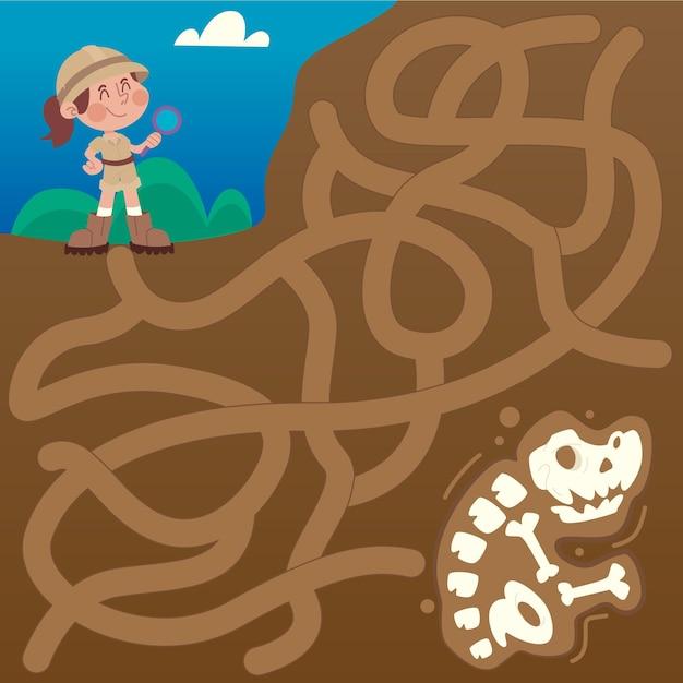 Labyrinthe éducatif Pour Enfants Avec Des Os De Dinosaures Vecteur gratuit