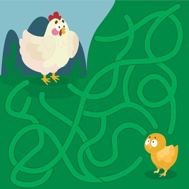 Labyrinthe éducatif Pour Les Enfants Avec Des Poulets Vecteur gratuit