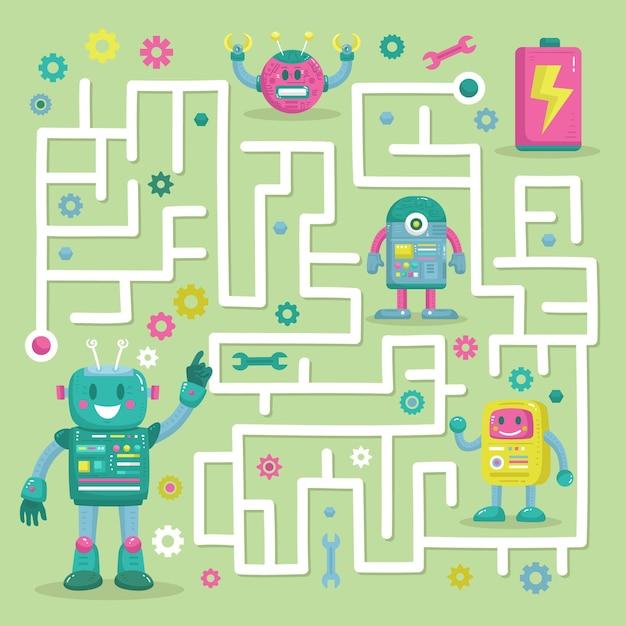 Labyrinthe éducatif Pour Enfants Avec Des Robots Vecteur gratuit