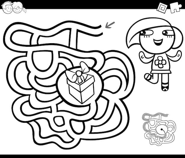 Labyrinthe Avec Fille Et Cadeau Coloriage Vecteur Premium