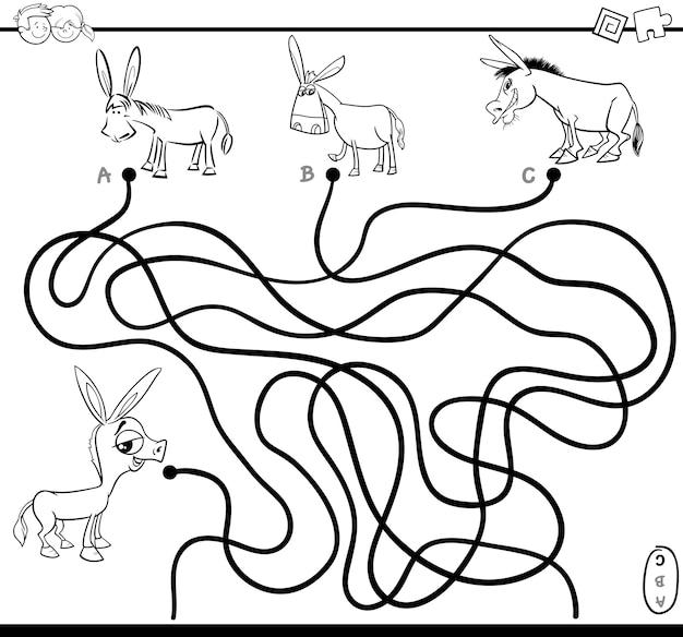 Labyrinthe jeu coloriage Vecteur Premium