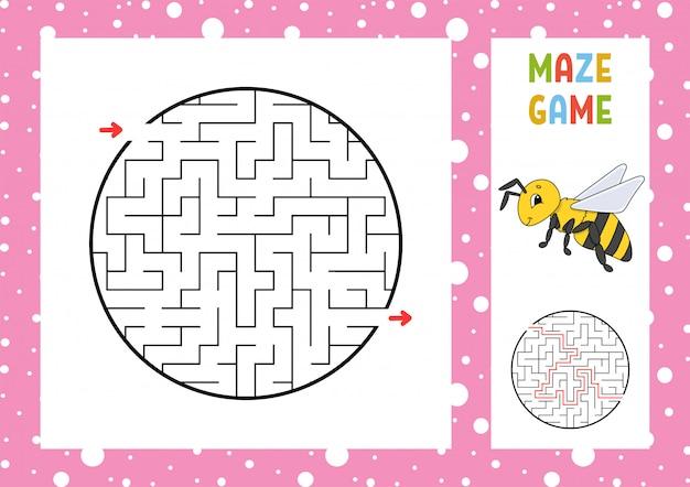 Labyrinthe. Jeu Pour Les Enfants. Labyrinthe Drôle. Feuille De Travail Pour Le Développement De L'éducation. Vecteur Premium