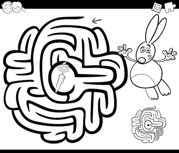 Labyrinthe avec lapin à colorier Vecteur Premium