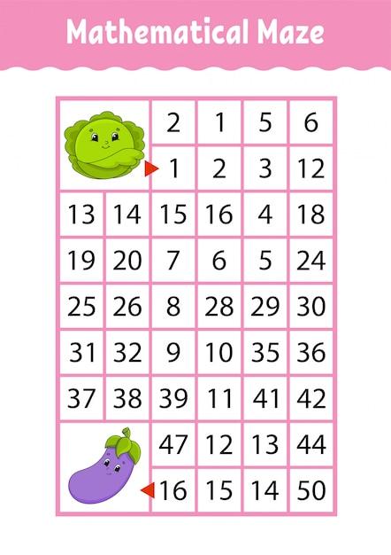Labyrinthe Mathématique. Jeu Pour Les Enfants. Labyrinthe Drôle. Feuille De Travail Pour Le Développement De L'éducation. Page D'activité. Vecteur Premium