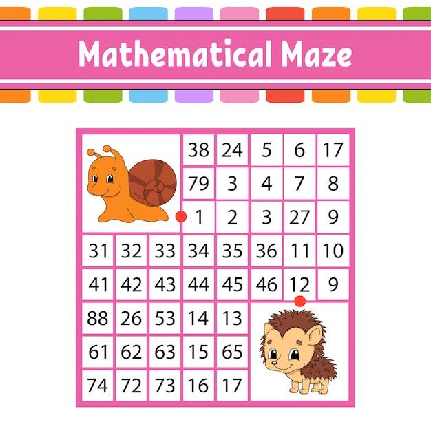 Labyrinthe mathématique. jeu pour les enfants. nombre labyrinthe. fiche de développement de l'éducation. page d'activité. Vecteur Premium