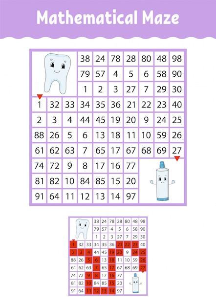 Labyrinthe mathématique. Vecteur Premium