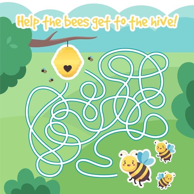 Labyrinthe Mignon Pour Les Enfants Avec Des Abeilles Vecteur gratuit