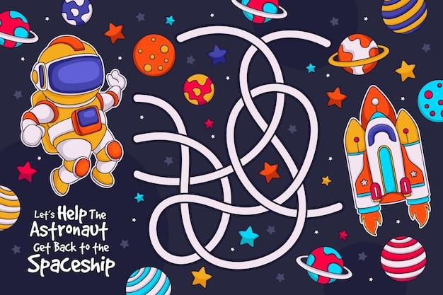 Labyrinthe Mignon Pour Les Enfants Avec Des éléments Illustrés Vecteur gratuit