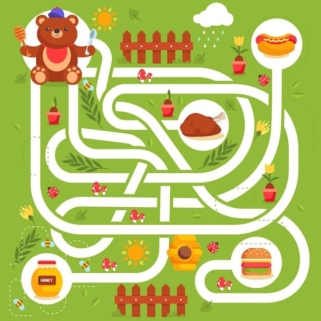 Labyrinthe Mignon Pour Les Enfants Vecteur gratuit