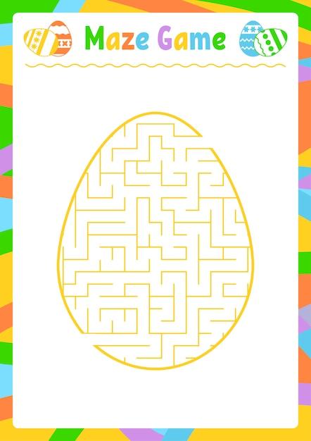 Labyrinthe Ovale Couleur. Feuilles De Travail Pour Enfants. Page D'activité. Puzzle De Jeu Pour Les Enfants. Vecteur Premium