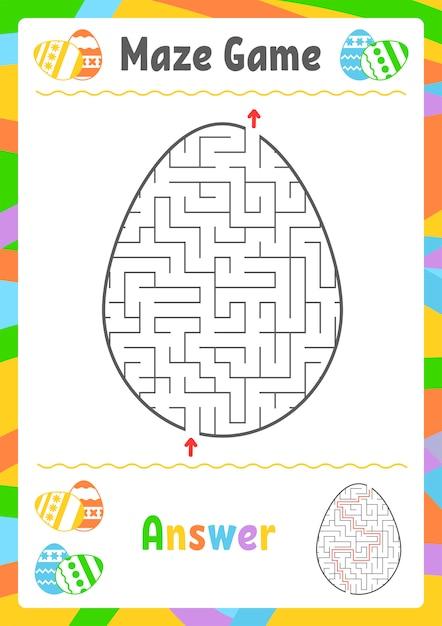 Labyrinthe Ovale Noir. Feuilles De Travail Pour Enfants. Page D'activité. Puzzle De Jeu Pour Les Enfants. Vecteur Premium