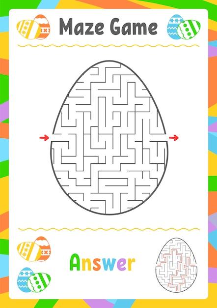 Labyrinthe Ovale Noir. Feuilles De Travail Pour Enfants. Page D'activité. Vecteur Premium