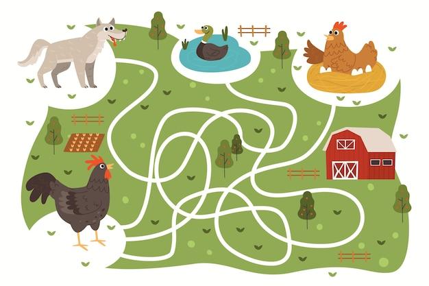 Labyrinthe Pour Les Enfants Avec Des Animaux De La Ferme Vecteur gratuit