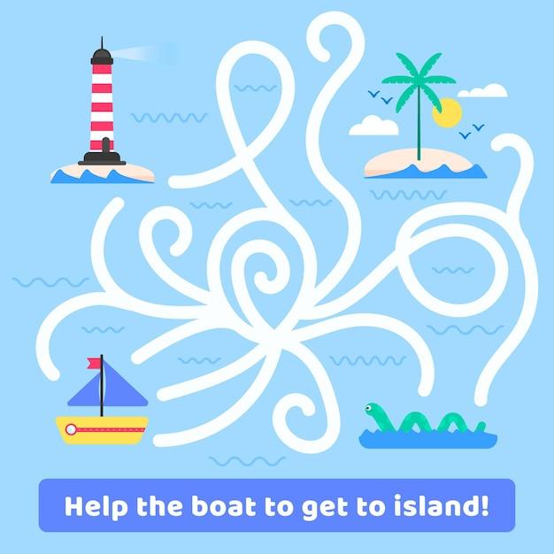 Labyrinthe Pour Enfants Avec Bateau Et île Vecteur gratuit