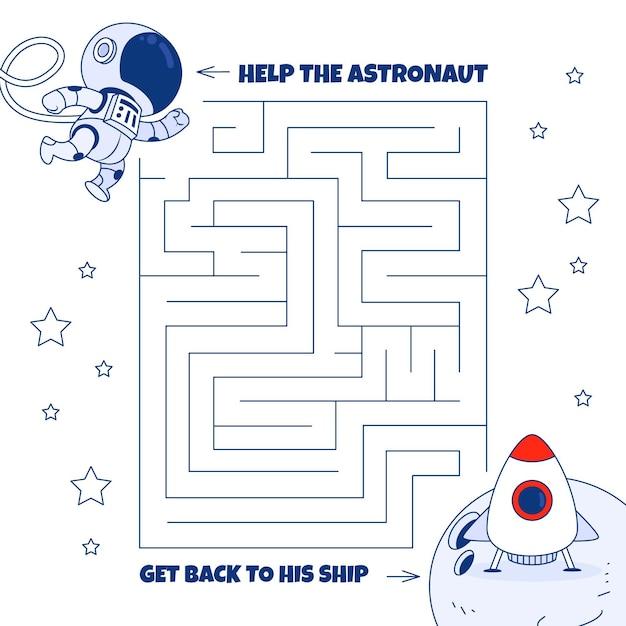 Labyrinthe Pour Enfants Avec éléments Spatiaux Vecteur gratuit