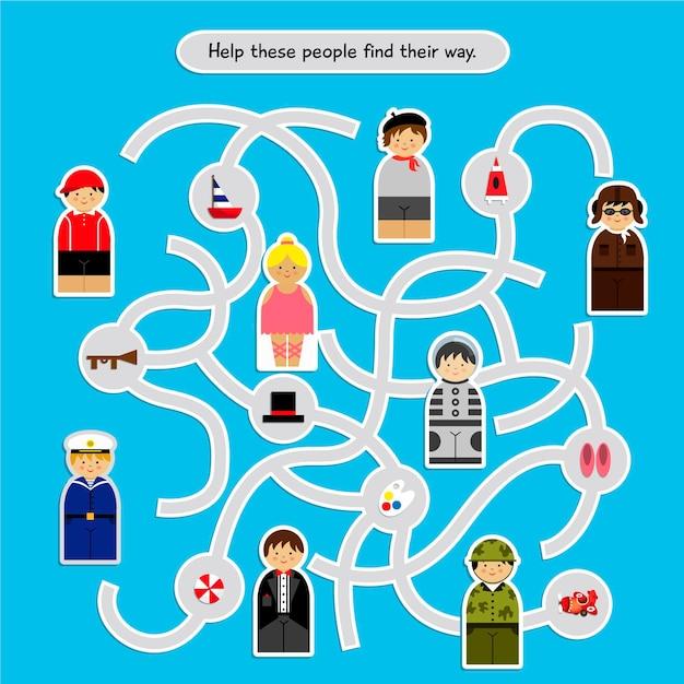 Labyrinthe Pour Les Enfants Avec Des Illustrations De Personnes Vecteur gratuit