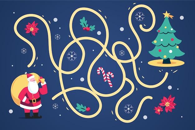 Labyrinthe Pour Enfants Avec Père Noël Et Arbre Vecteur gratuit