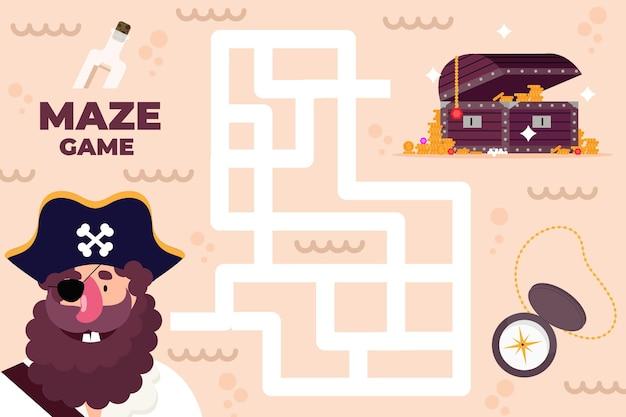Labyrinthe Pour Les Enfants Avec Pirate Et Trésor Vecteur gratuit