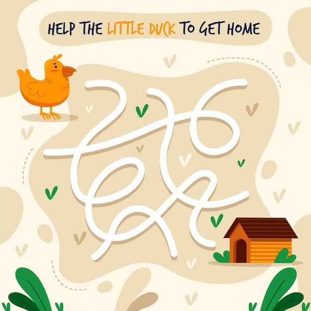 Labyrinthe Pour Illustration Enfants Vecteur Premium
