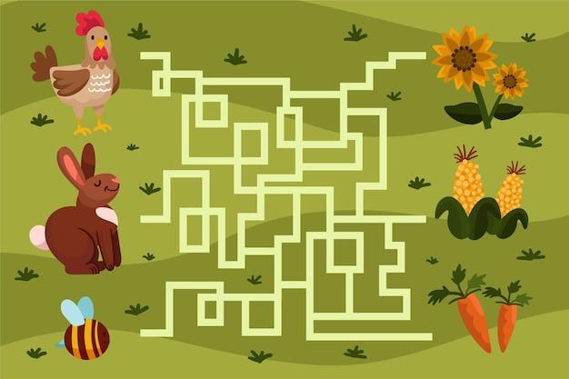 Labyrinthe Pour Illustration Enfants Vecteur gratuit