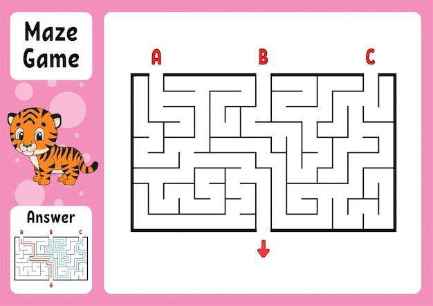 Labyrinthe Rectangle. Jeu Pour Les Enfants. Trois Entrées, Une Sortie. Puzzle Pour Enfants. Vecteur Premium