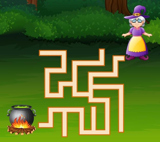 Un labyrinthe de sorcières trouve son chemin vers le chaudron Vecteur Premium