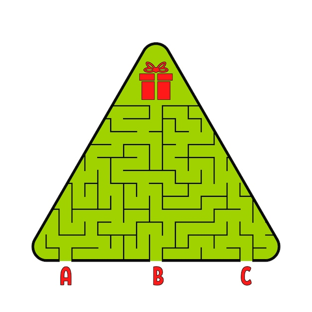 Labyrinthe Triangulaire Abstrait. Sapin De Noël Avec Un Cadeau. Trouvez Le Bon Chemin. Vecteur Premium
