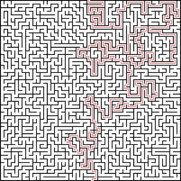 Labyrinthe de vecteur abstraite d'une grande complexité avec solution Vecteur Premium