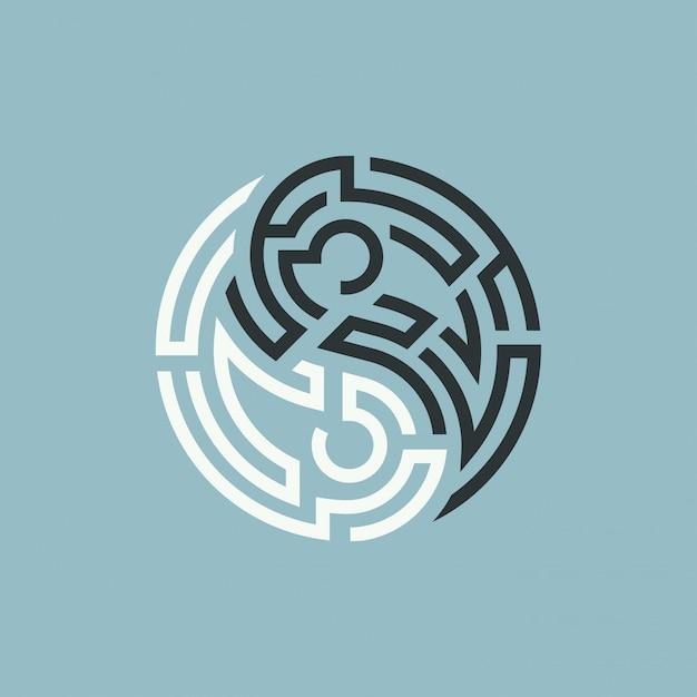 Labyrinthe yin yang Vecteur Premium