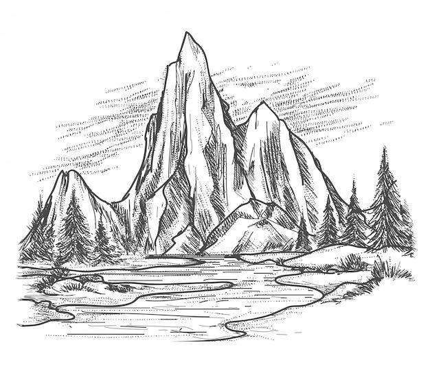 Lac de montagne avec des pins Vecteur Premium