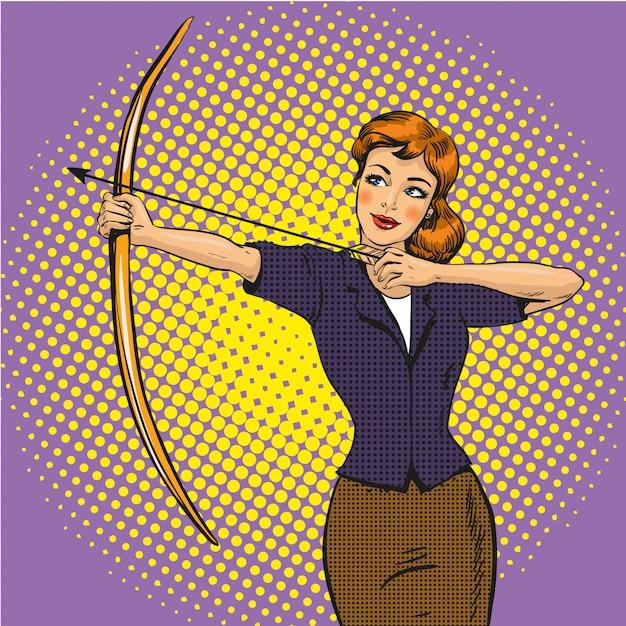 Lady archer style pop art Vecteur Premium