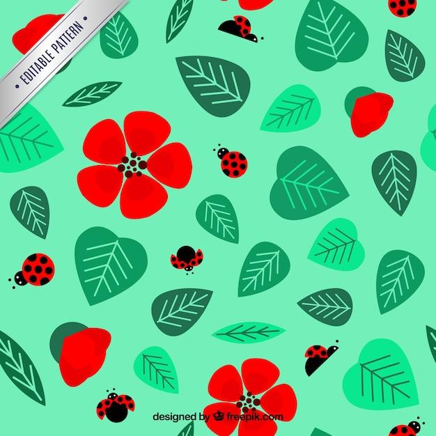 Lady bugs et motif de fleurs Vecteur gratuit