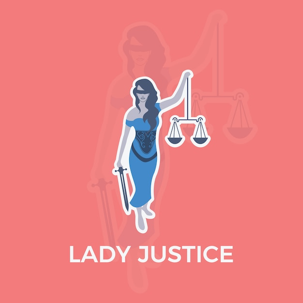Lady Justice charactther Vecteur gratuit