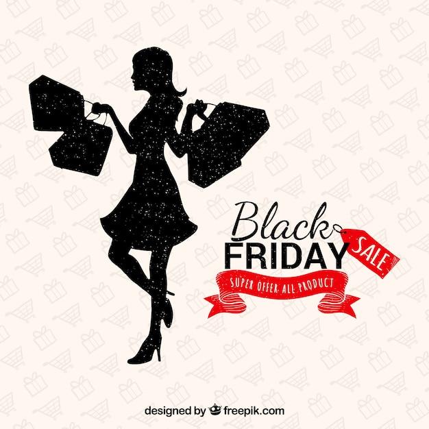 Lady Shopping Sur Un Fond Noir Vendredi Vecteur gratuit