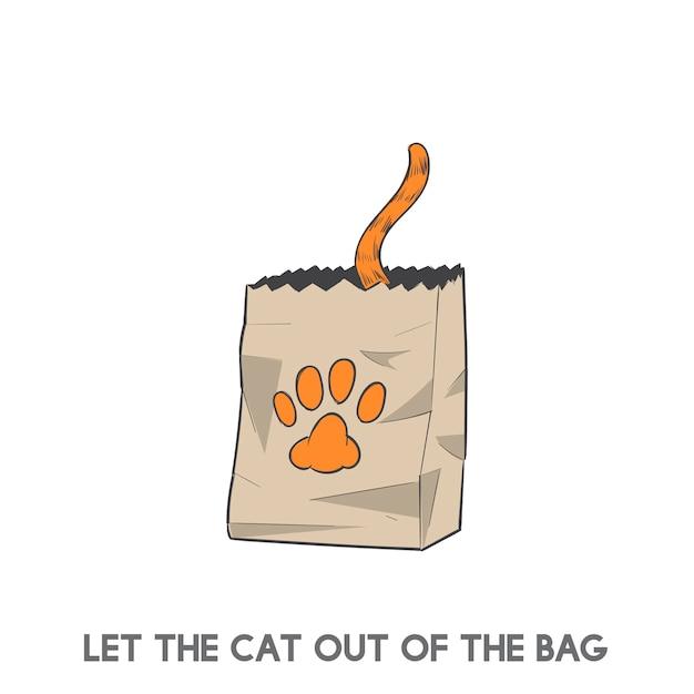 Laisse le chat en dehors du sac Vecteur gratuit