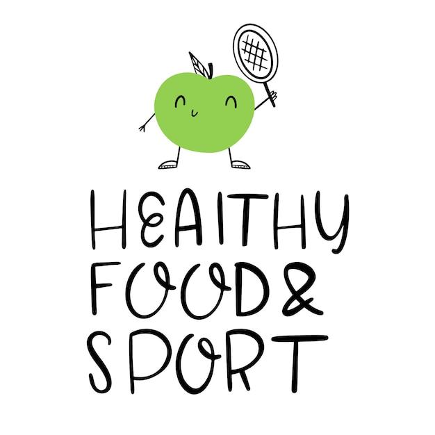 Laisser: nourriture saine et sport. une pomme verte joue au tennis. concept de mode de vie sain Vecteur Premium