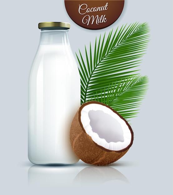 Lait De Coco Vegan Non Laitier En Bouteille Vecteur Premium