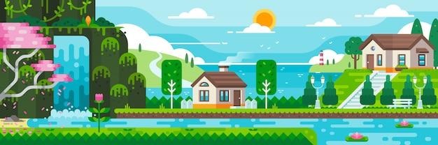 Lake house avec illustration de fond de mer. graphique de paysage de style plat Vecteur Premium