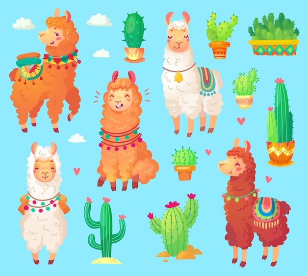 Lama alpaga mignon dessin animé mexicain Vecteur Premium