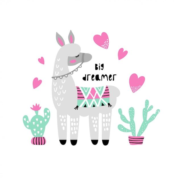 Lama mignon avec cactus. Vecteur Premium
