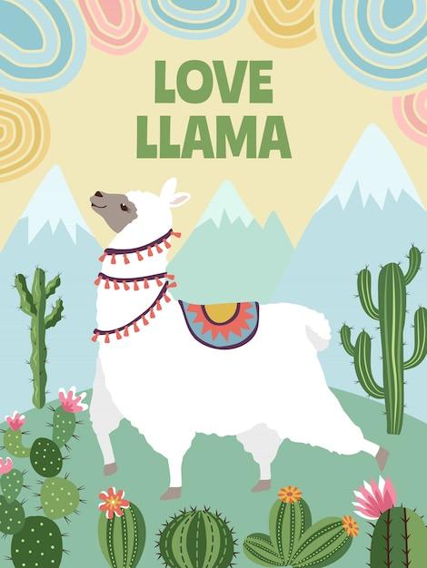 Lama, montagnes et cactus Vecteur Premium