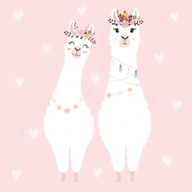 Lamas mignons pour invitation de mariage. Vecteur Premium