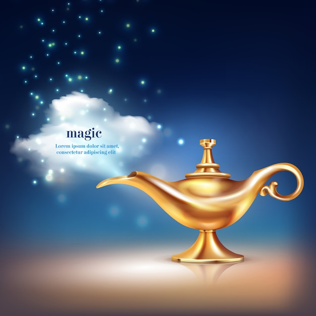 Lampe aladdin Vecteur gratuit