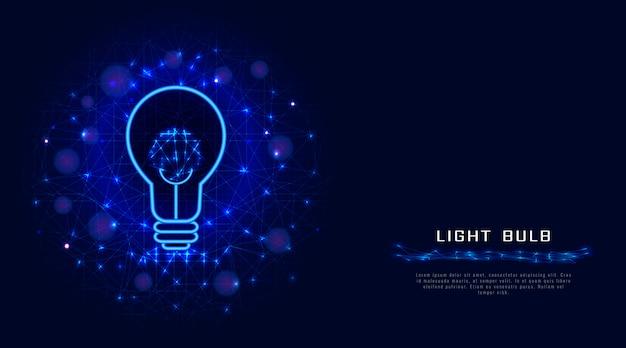 Lampe ou ampoule de lignes, de points et de triangles, abstrait bleu. Vecteur Premium